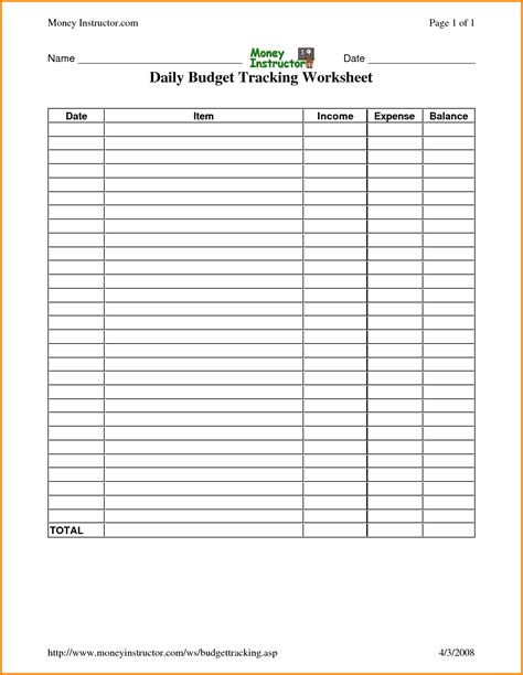daily budget template daily budget worksheet worksheets releaseboard free