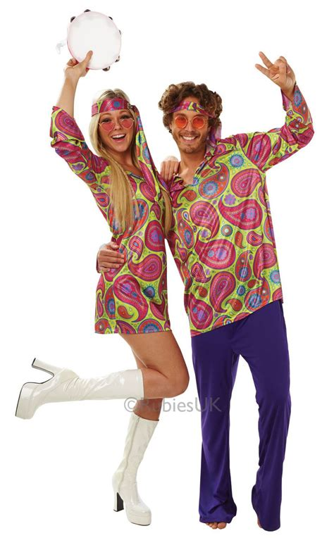 Mens Ladies 60s 70s Hippy Hippie Disco Outfit Fancy Dress