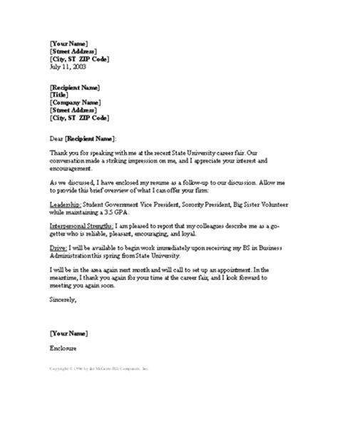 Cover Letter Exles Fair Cover Letter Following Up College Career Fair Letter Templates
