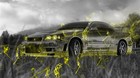 design house skyline yellow motif wallpaper 4k nissan skyline gtr r34 jdm crystal nature car 2015 el