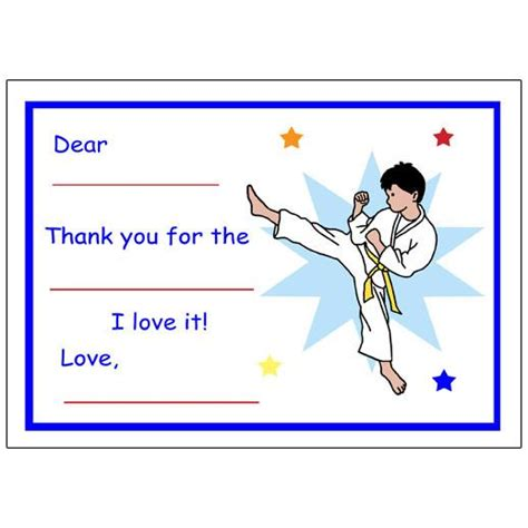 thank you letter to karate karate or martial arts fill in thank you notes for boys
