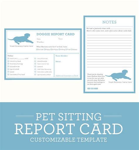 Pet Report Card Template by Simple Clean Classic Pet Sitting Report Card