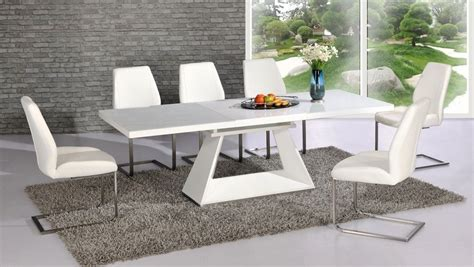 white high gloss glass dining table and 8 chairs extending