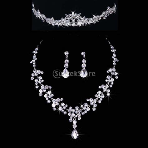 bridal bridesmaid wedding jewelry set rhinestone