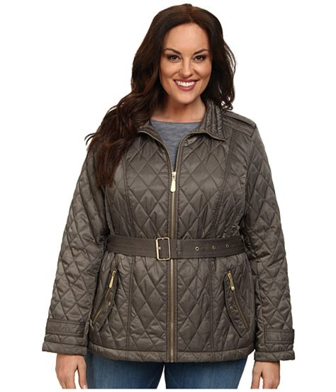 Plus Size Quilted Coat by Vince Camuto Plus Size Quilted Coat Pale Olive Zappos Free Shipping Both Ways