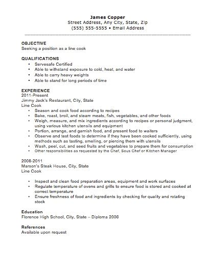 Resume Objective Cook Line Cook Resume The Resume Template Site