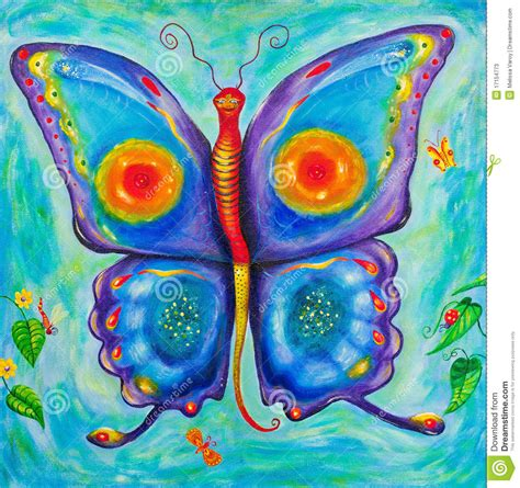 Children S Painting Of A Colourful Butterfly Stock Illustration Illustration Of Insect Animal Painting For Childrens
