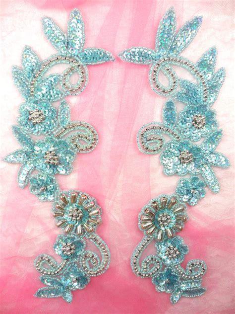 0183 appliques mirror pair sequin beaded blue
