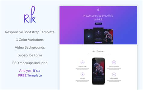 Rik Free Bootstrap App Landing Page Template Templateocean Bootstrap App Landing Page Template