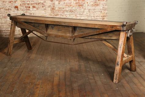 vintage industrial wood cast iron antique brake table