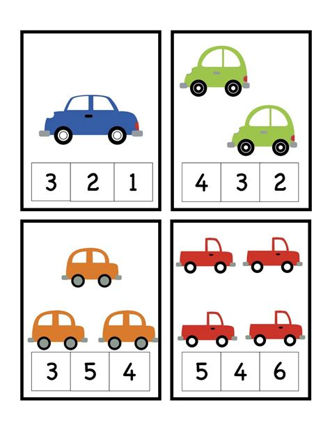 small printable number flashcards preschool printables car number cards preschool