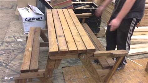 picnic table bench combo combo foldable picnic table bench youtube