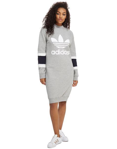 lyst adidas originals high neck sweater dress in gray