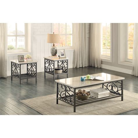 Value City Furniture East Brunswick Nj by Homelegance Fairhope Transitional 3pc Occasional Table With Faux Marble Tops Value City