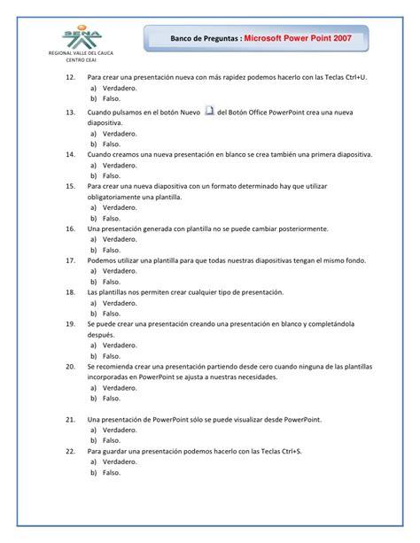 preguntas y respuestas verdadero o falso banco de preguntas power point 2007