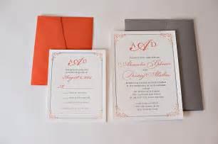 coral and grey wedding invitations real wedding alexandra and dimitriy coral and grey