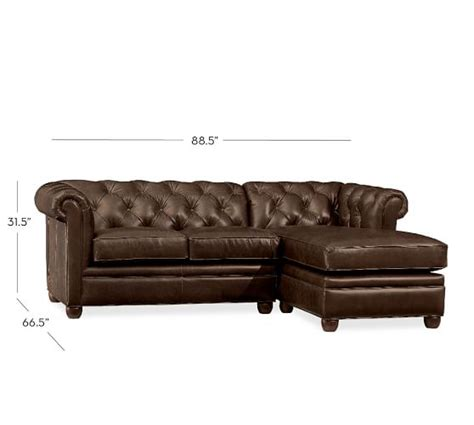 chesterfield leather sofa with chaise sectional pottery barn