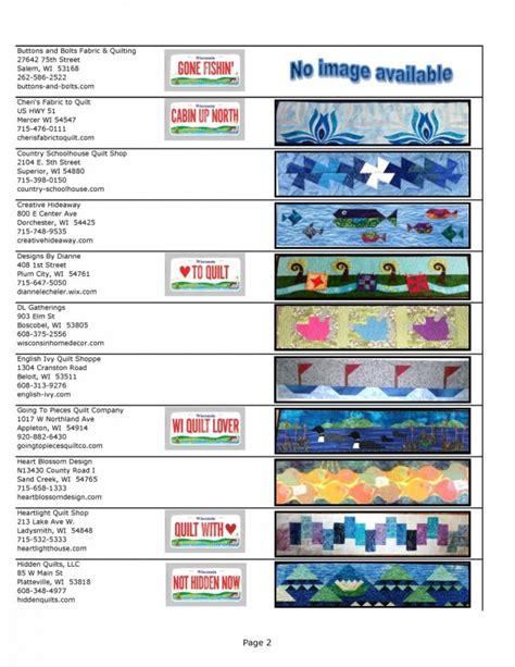 List Of Quilt Shops by Wisconsin Row By Row Experience