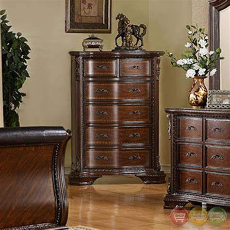 baroque bedroom set bellefonte baroque brown cherry sleigh bedroom set w intricate accent