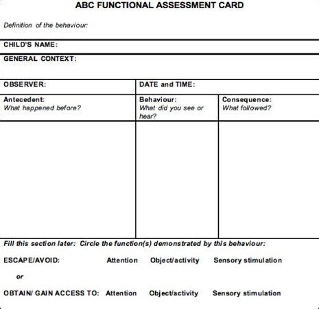 functional behavior assessment template abc functional