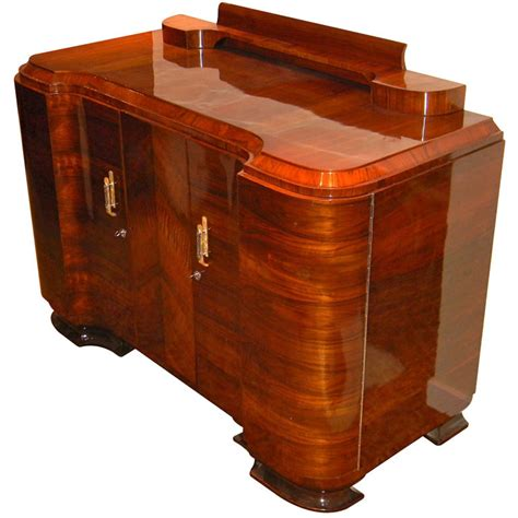 amazing quality deco walnut curved buffet or storage