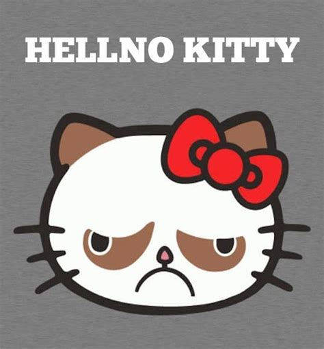 Hello Kitty Meme - grumpy cat is hell no kitty