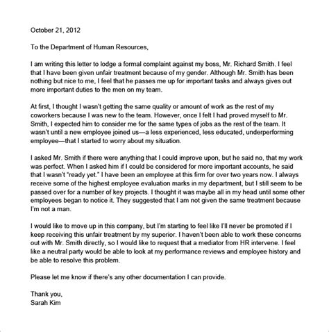 Complaint Letter Format Against Employer letter of complaint to employer unfair treatment articleezinedirectory
