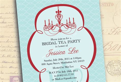 bridal shower invitations tea party bridal shower