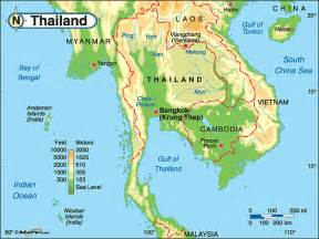 Thailand Map World by Thailand Physical Features Map