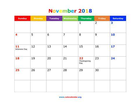 Calendar Nov 2018 November 2018 Calendar Calendar 2017 Printable