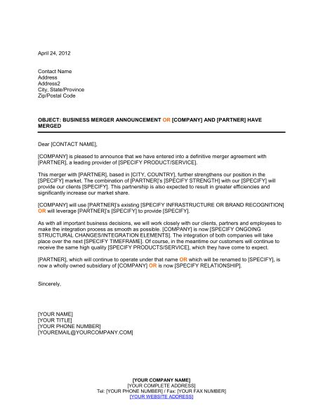 Announcement of Business Merger   Template & Sample Form
