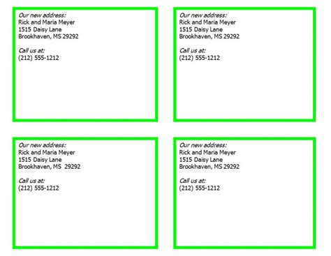 address card template free new address cards new address card template