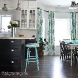 turquoise kitchen decor ideas a black white and turquoise diy kitchen design with ikea cabinets handmade drapes and diy
