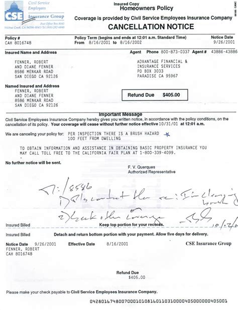 Cancellation Letter For House Insurance Notice Of Cancellation Of Homeowners Insurance Due To Brush 2001