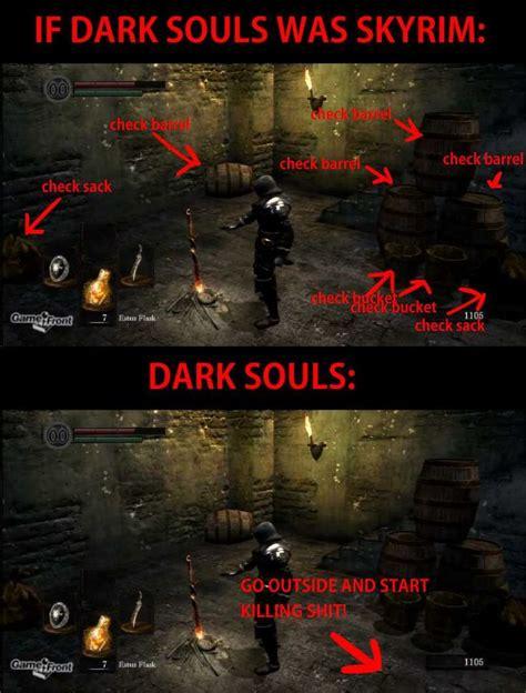 Dark Souls Memes - if dark souls was skyrim gaming pinterest dark souls