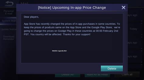change mobile legend upcoming in app price change notice 2018 mobile legends