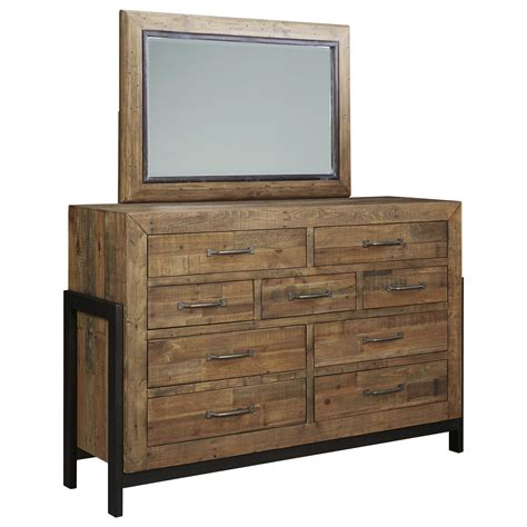 solid wood white dresser with mirror ashley signature design sommerford reclaimed pine solid