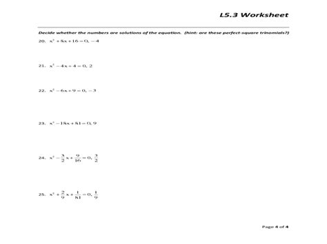 Solving Polynomial Equations Worksheet by Uncategorized Factoring Square Trinomials