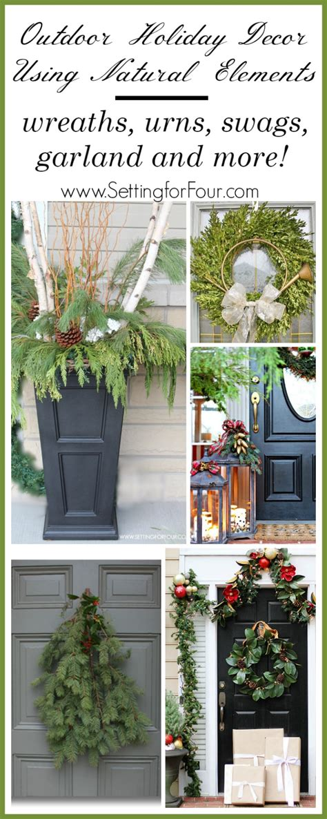 outdoor holiday decor  natural elements setting
