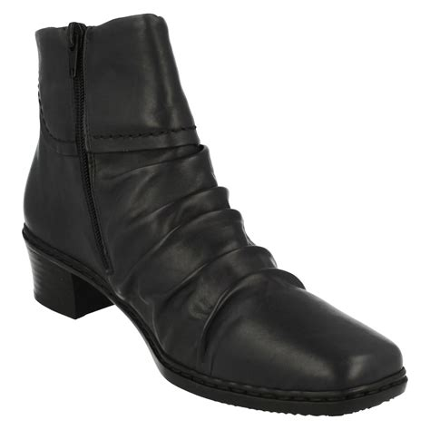 rieker low heel leather ankle boots 74563