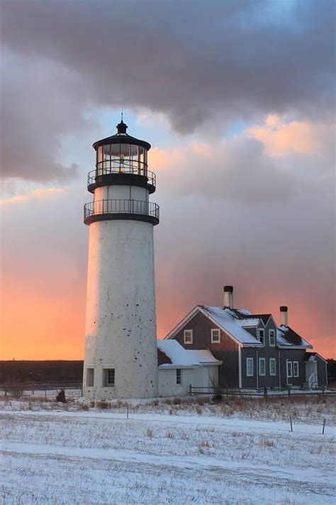 cape cod light houses highland lighthouse cape cod winter sunset print by burk