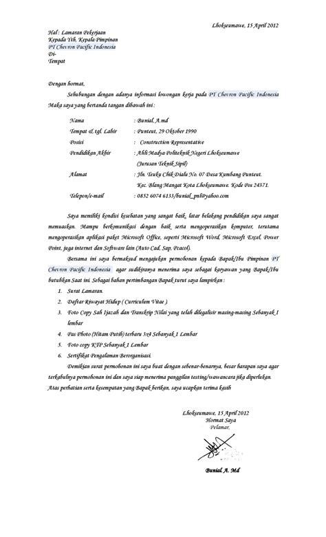 contoh surat lamaran kerja ke pt chevron ben