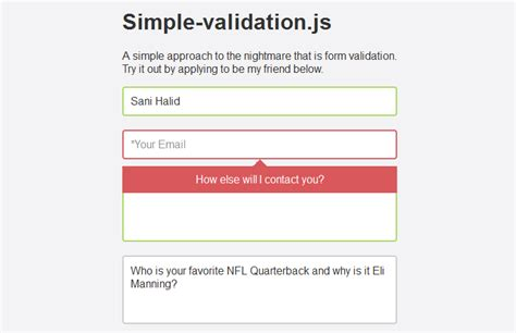Name Pattern Validation In Javascript | simple form validation using simple validation js