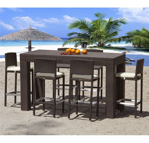 High Table Patio Set High Top Modern Outdoor Wicker Dining Set