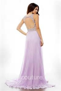 flowing long lilac chiffon beaded open back prom dress