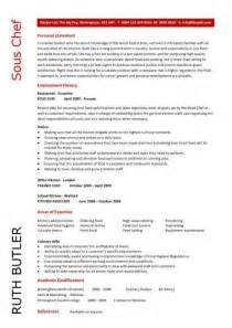 sous chef resume cv exles what is a sous chef