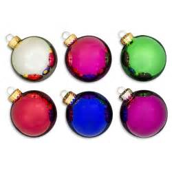 6 piece multi color glass ball christmas ornaments