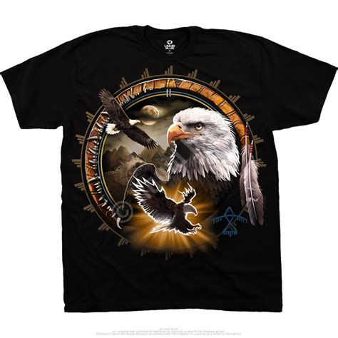 Kaos American Eagle 40 S M american wildlife eagle dreamcatcher black t shirt