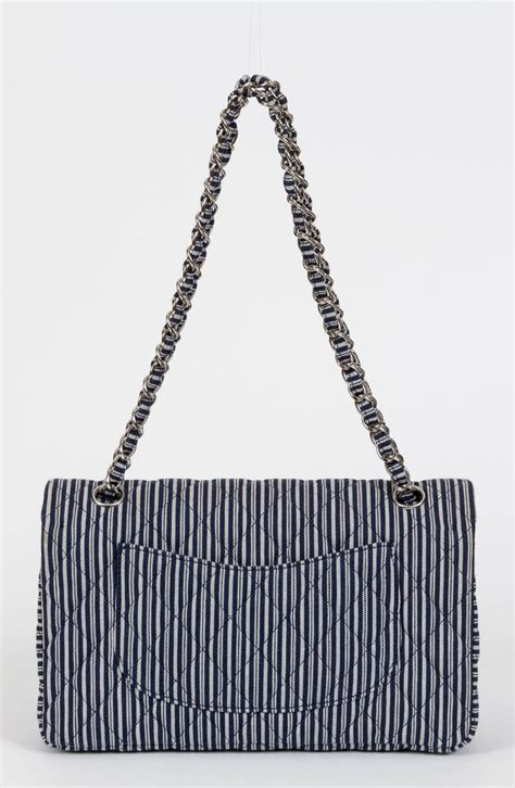 Chanel Stripe chanel blue white stripe sequin flap bag at 1stdibs