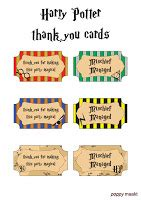 hp printable thank you cards poppy makes harry potter party